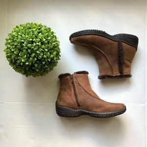 Sofft leather ankle zip up boots faux fur trim